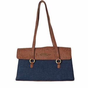 Leslie Fay Faux Leather and Denim Shoulder Bag